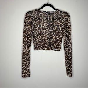Windsor Cropped Cheetah Print Long Sleeve Medium